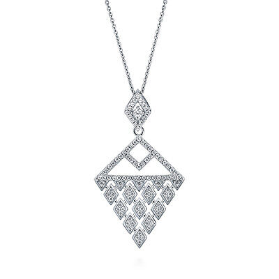 BERRICLE Sterling Silver CZ Art Deco Triangle Fashion Pendant Necklace