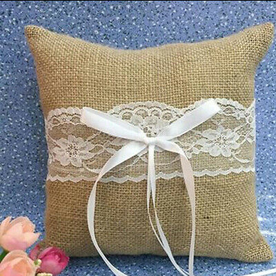 Ribbon Rustic Burlap Lace Ring Pillow for Wedding Party Bridal Ceremony Bearer