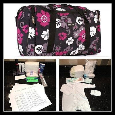 Budget prepacked maternity/hospital/labour bag black, pink & grey flower