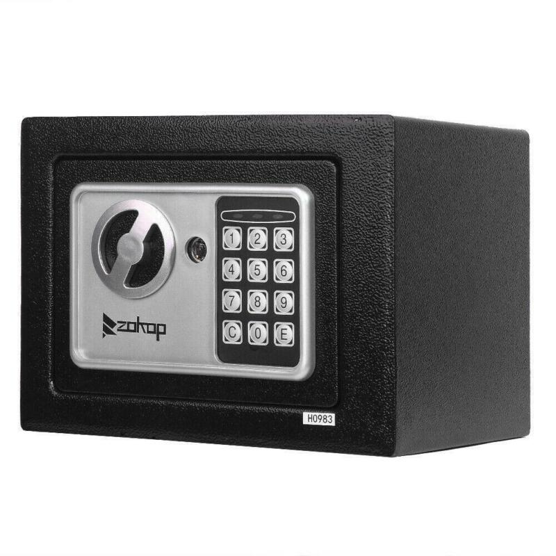 "9"" DIGITAL ELECTRONIC SAFE SECURITY PASSWORD BOX WALL JEWELRY GUN CASH BLACK"