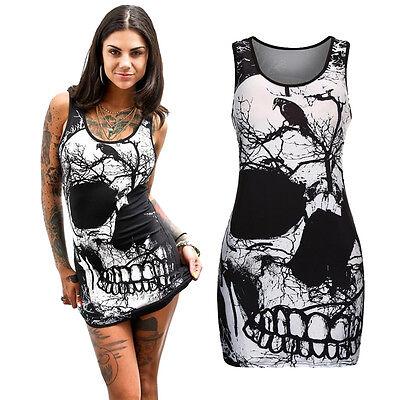 Womens Skull Dress (Women Summer Sleeveless Skull Printed Vintage Mini Package Hip Dress Plus Size)