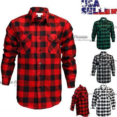 - Mens Brawny Buffalo Plaid Flannel Shirt Casual Long Sleeves Button Front Check