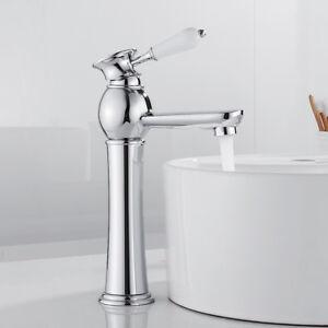 Traditional Tall Bathroom Taps Counter Top Basin Mixer Tap Mono Chrome Faucet