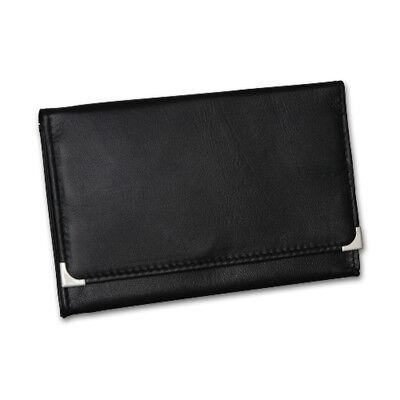 Feinschnitttasche / Tabakbeutel, Leder schwarz mit Chromecken, 15 x 9,5 cm.