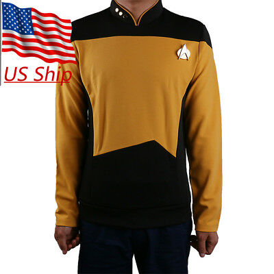 Star Trek Starfleet Command Shirt Uniform Cosplay Star Trek TNG Uniform Yellow (Star Trek Tng Uniforms)