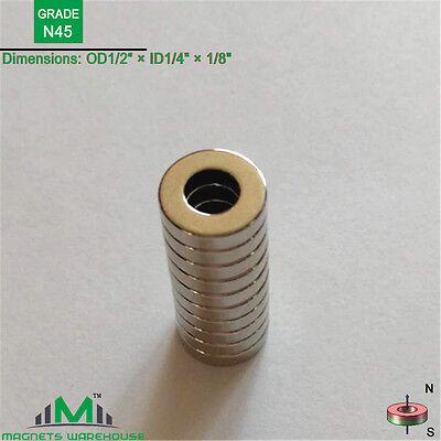 10-ct Rare Earth Neodymium Grade N45 Ring Magnets 12od X 14 Id X 18