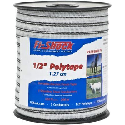 Fi-shock Pt656wh-fs 656-feet Polytape 12-inch Electrical Fence Tape Garden