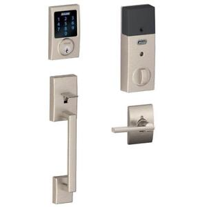 NEW Schlage Connect Century Touchscreen Deadbolt with Built-In Alarm and Handleset Grip with Latitude Lever Satin Nickel