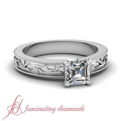 1/2 Carat Asscher Cut E-Color Diamond Solitaire Twig Design Engagement Ring GIA