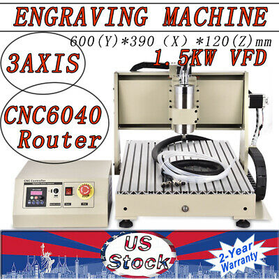 1.5kw 3axis 6040 Cnc Router Engraving Milling Machine Desktop Wood Cutter Vfd