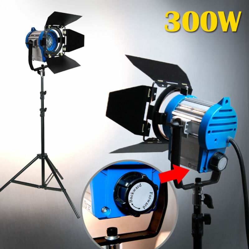 Built-in Fresnel Tungsten Spot light 300W Bulb Stand Kit For Film Video Camera
