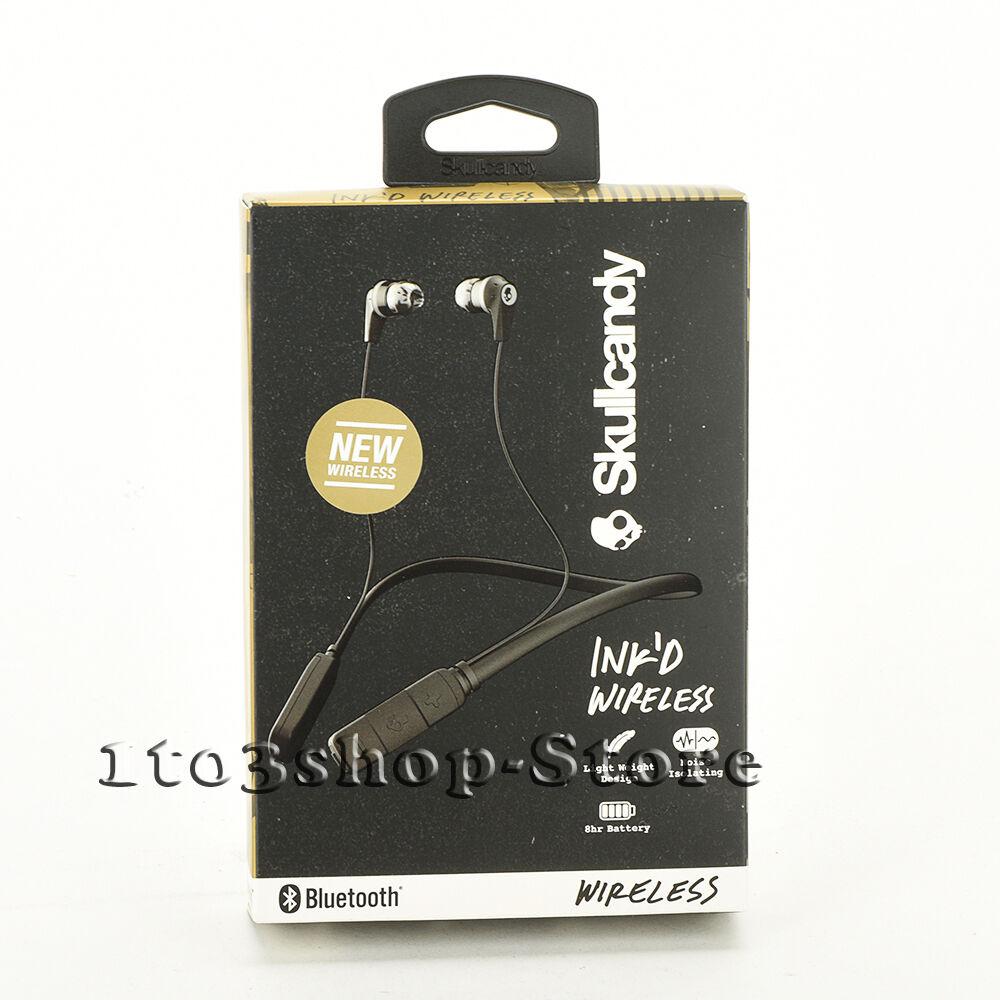 Black Skullcandy INK'D Neckband Bluetooth WIRELESS Earbuds H