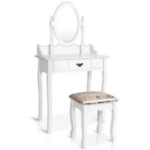 Connie White Single Drawer Mirror Dressing Table with Stool