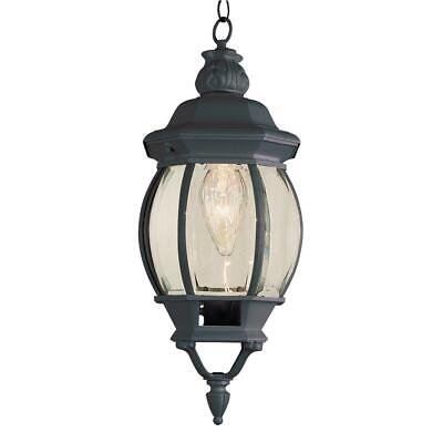 Bel Air Lighting 1-Light Outdoor Black Hanging Lantern With Beveled Glass - Light Beveled Glass Hanging Lantern