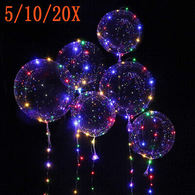 10/20X 30LED Helium Balloon Leucht Luftballon Geburtstag Hochzeit Weihnachten