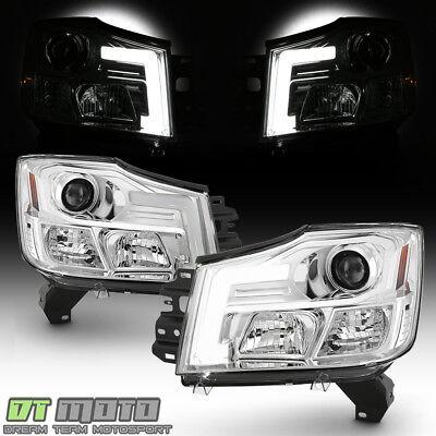 For 2004-2015 Titan 04-07 Armada LED Light Tube Projector Headlights Headlamps