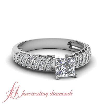 1 carat Vintage Inspired Engagement Rings with Princess cut Diamond GIA