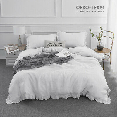 Simple&Opulence 100% Stone Washed Linen White Frill Floral Flax Duvet Cover Set  Duvet Cover Set Stone