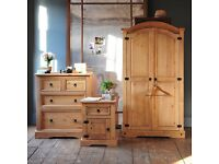 Solid pine bedroom set. Wardrobe, Chest of Drawers, Bedside. Brand new, Free delivery