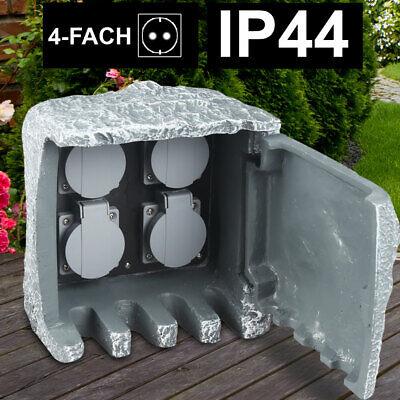 Distributor 4 Plug Cans Garden Yard Outdoor Power Supply Stone Optic IP44 gray