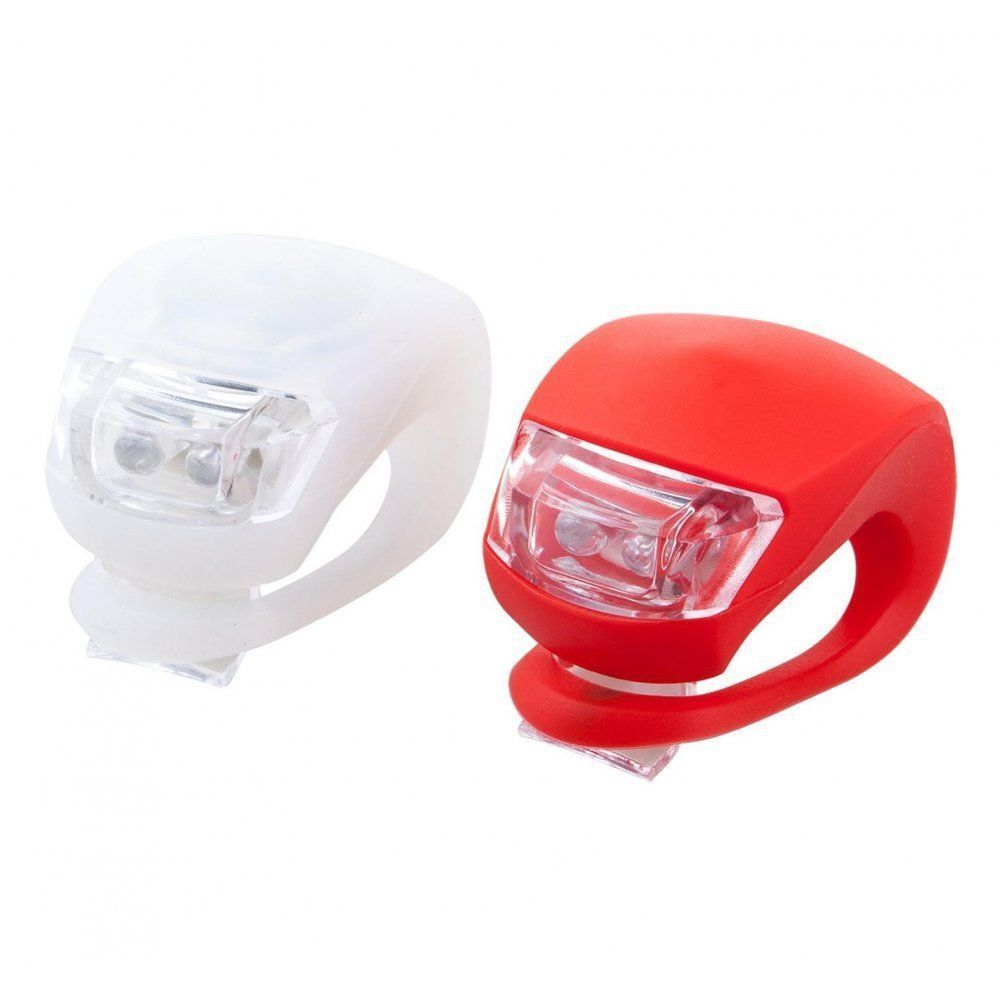 LED BICYCLE FRONT /& REAR LIGHTS SET PUSH CYCLE LIGHT CLIP