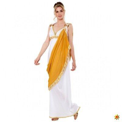 Kostüm Römerin Gr. S/M Kleid weiß/gold Schärpe Antike Griechin - Weiß Goldenes Kleid Kostüm