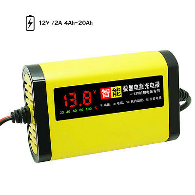 (Car Motorcycle Battery Charger 12V 2A Full Automatic 3 Stages Lead Acid AGM GEL)