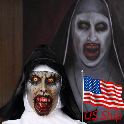 The Nun Valak Mask New Cosplay The Conjuring Scary Mask Halloween Horror Props (Scary Nun Mask)