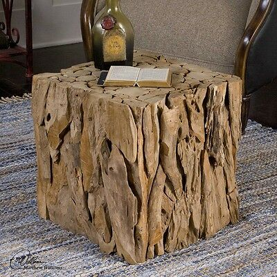 Natural Teak Root Wood Bunching Cube Driftwood Side End Accent Table Or Seat