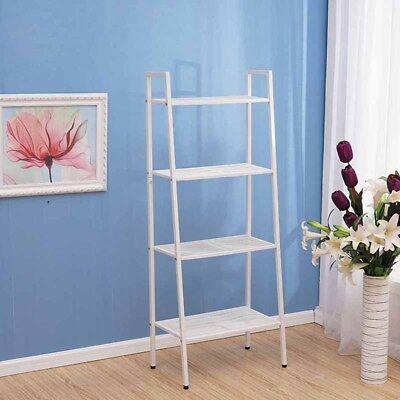 4-tier Bookcase Bookshelf Leaning Shelf Rack Shelving Ladder Storage Display