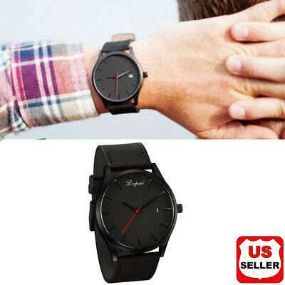 Men's Fashion Sport Stainless Steel Case Leather Band Quartz Analog Wrist (Analog Leather Wrist Watch)