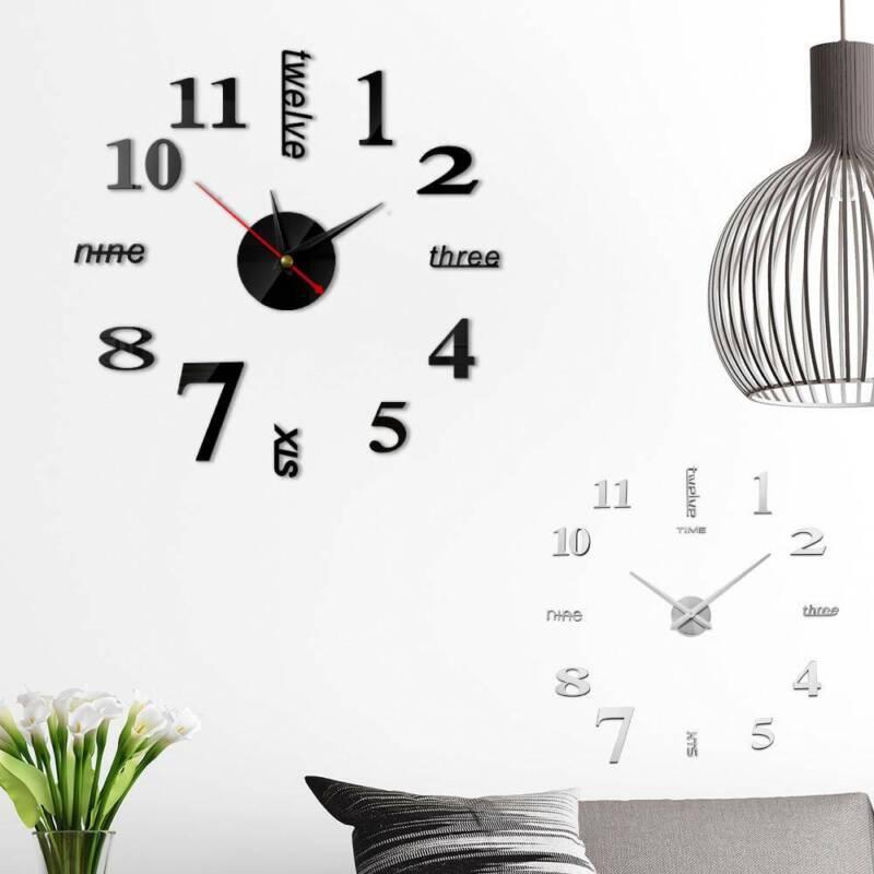 Diy Extra Large Numerals Luxury Mirror Wall Sticker Clock Home