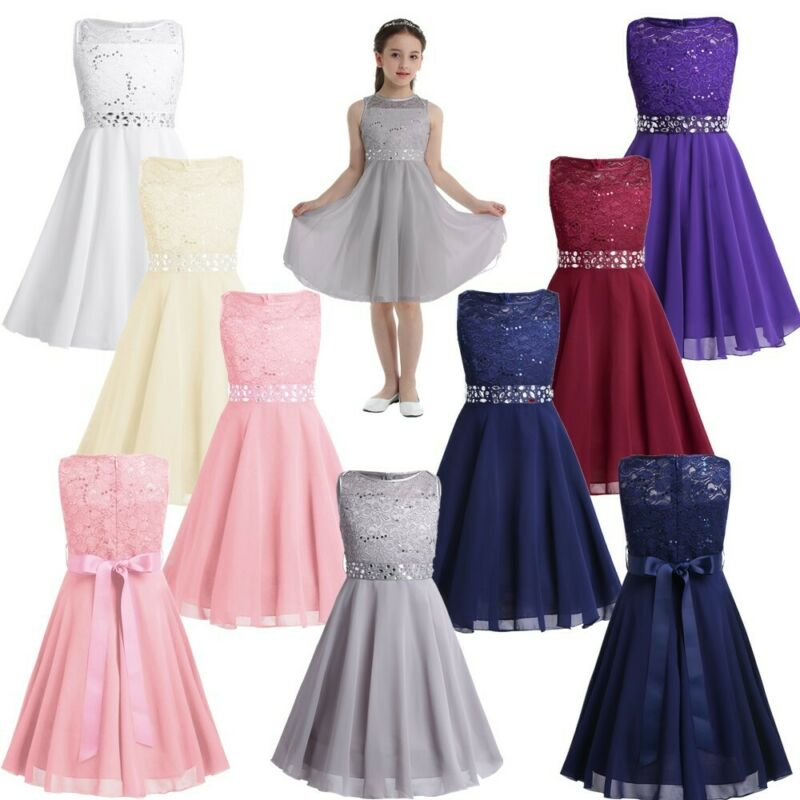 Kids Toddler Flower Girl Princess Formal Party Wedding Ball Prom Tutu Gown Dress