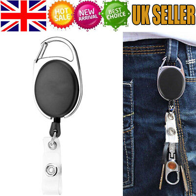 Retractable Pull Keychain Lanyard ID Badge Holder Name Tag Card Sign Buckle Clip