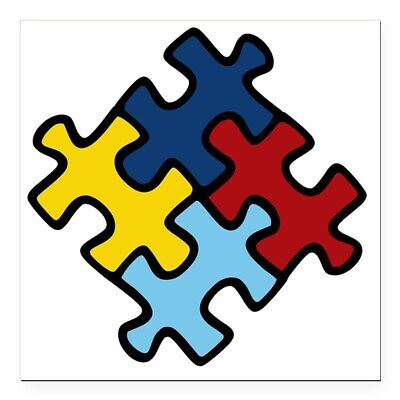 CafePress Autism Puzzle Square Car Magnet 3 X 3 Bumper Sticker (1076601280)