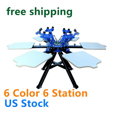 Us Stock 6 Color Screen Printing Press 6 Station Printer Double Rotary