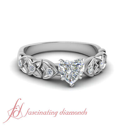 3/4 Ct Heart Shaped Diamond Round Accented Unique Engagement Rings For Women GIA