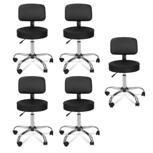5X Black Rolling Beauty Salon Stool Chair Adjustable Hydraulic Swivel Spa W/Back Health & Beauty