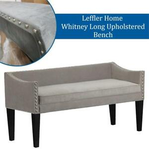 Lightly Used Leffler Home 13000-02-21-01 Whitney Long Upholstered Bench with Arms and Nailhead Trim in Grey, Large Co...