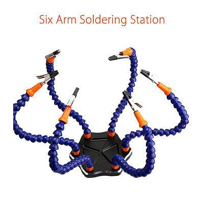 Dritte Hand 6-Arm Löten Helping Tool Schweißen Clips 6Pcs Aluminium Base Kit (Aluminium Löten Kit)