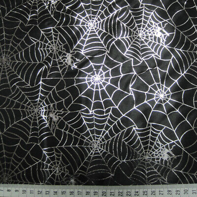 Halloween Broomstick Craft (Halloween Fabric Per Metre Spiders Web Witch Cat Bat Skulls Broomstick Craft)