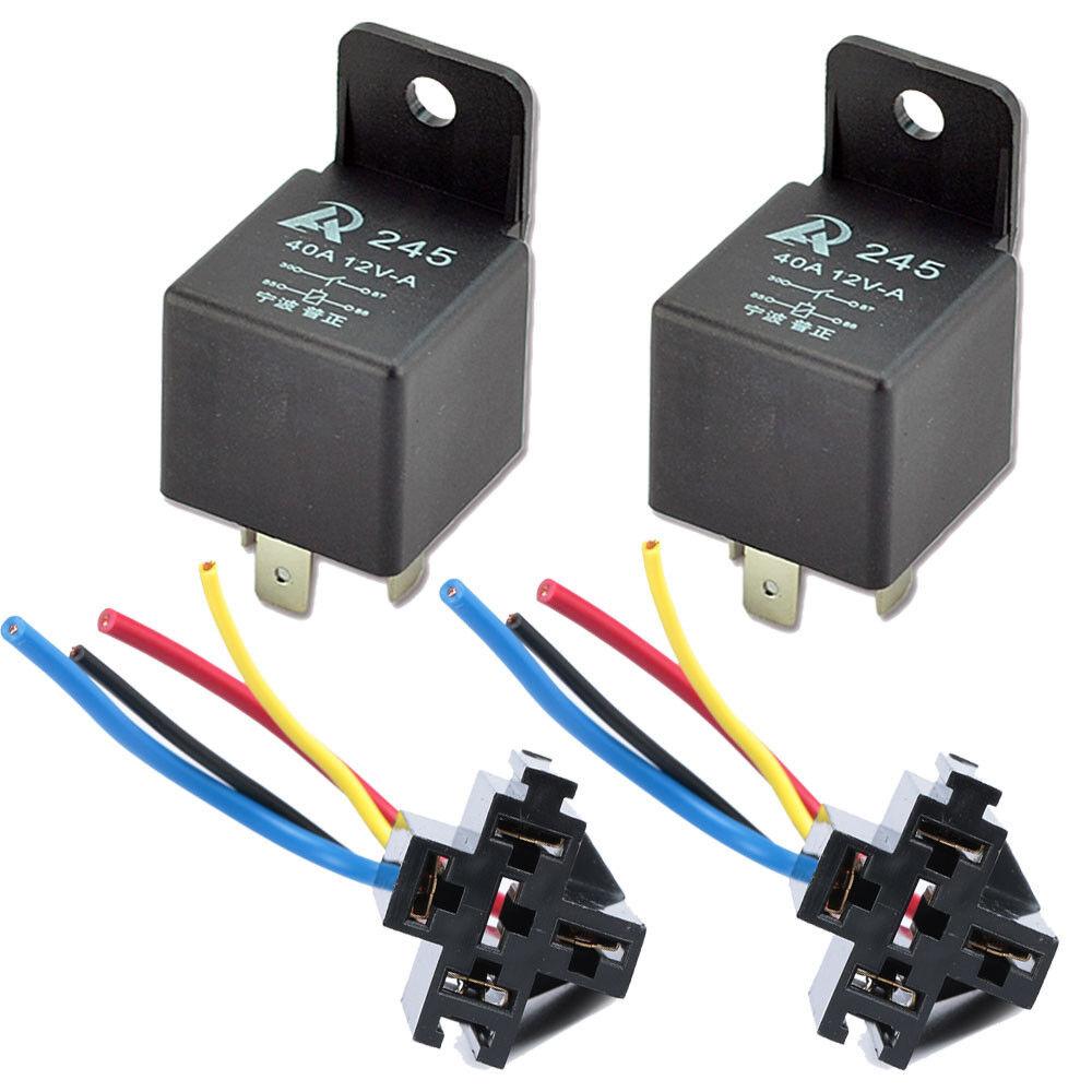 5 x Mini Relay SPST 4Pins 12V DC 40A Contact Car Vehicle /& 5X Socket 4Pin Wire