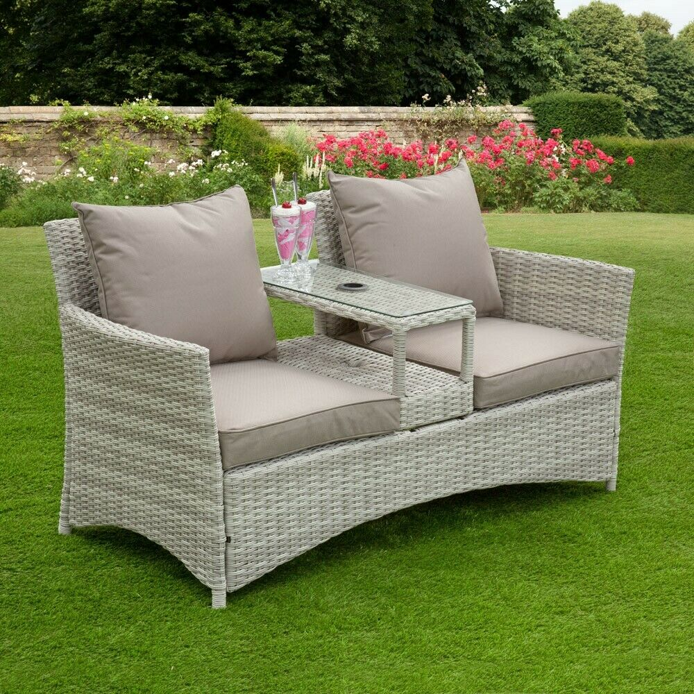 Garden Furniture - Denver Rattan Love Seat Companion Set Table Chair Garden Furniture Patio Set