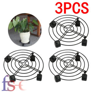 3X Garden Plant Pot Round Wheels Mover Trolley Caddy Garden Plate Metal Stand