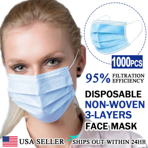 [1000 PCS] Face Mask Non Medical Surgical Disposable 3-PLY Earloop Mouth Cover Business & Industrial