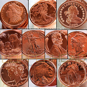 (20) Mixed 1oz Copper Coins Morgan Peace Walking Liberty Indian Buffalo Rounds