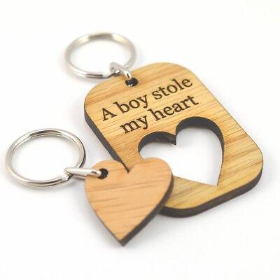 A Boy Stole My Heart Valentines Day Gift Idea Love Keyring Present For Boyfriend ()