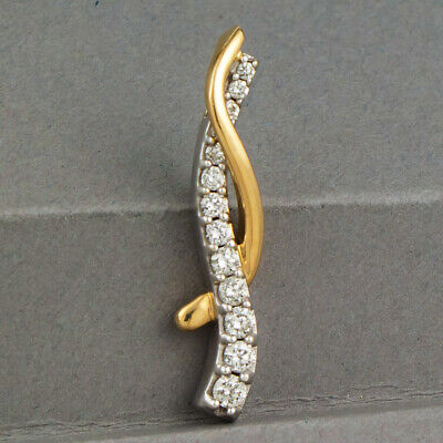 14K Solid Gold 0.25 ctw Natural DIAMOND Twisted Ribbon PENDANT Estate Jewelry Gold Diamond Ribbon Pendant
