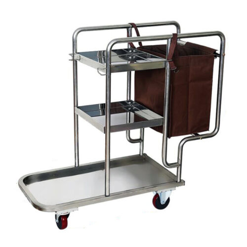 Stainless Steel Housekeeping Janitor Commercial Cleaning Cart 3 Shelf With Bag