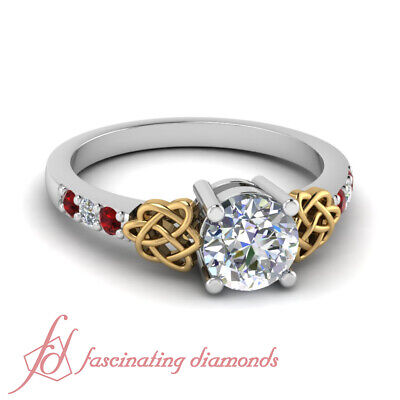 1.10 Ct Round Cut:Ideal Diamond & Red Ruby Pave Set Engagement Ring 14K SI1 GIA